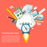 Time Business Ideas.Vector illustration of business and time management flat design. Business idea.Deadline.Watch the rocket Stock Images