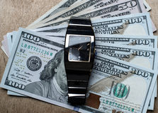 Time is business money concept with watch Royalty Free Stock Images