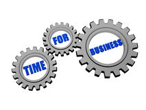 Time for business in silver grey gears Stock Photography