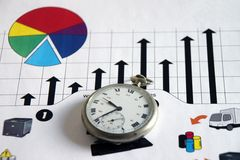 Time and bussiness. Pie chart evolution measured against time Stock Photo