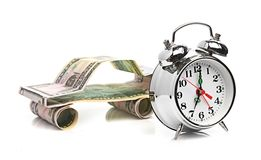 Time buy car concept (car made from dollar) Stock Photo