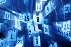 Time Calendar Background Abstract New Years Day. An abstract time image with calendar pages and dates stock photo