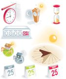 Time and calendar icons set. Set of 10 icons - time and calendar theme Stock Photos