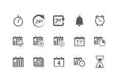 Time and Calendar Icons. Vector Time and Calendar Icons isolated on white Royalty Free Stock Images