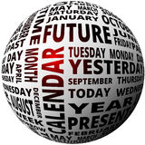 Time and calendar word cloud sphere glowing Stock Photos