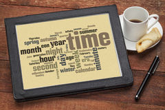 Time and calendar word cloud Stock Images