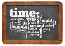 Time and calendar word cloud. Cloud of words or tags related to time and calendar on a  vintage slate blackboard isolated on white Stock Photo