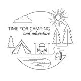 Time for Camping and Adventure. Camping and forest travel and tourism outline background. Minimalistic linear travel Royalty Free Stock Image