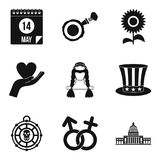 Time for celebration icons set, simple style Royalty Free Stock Images