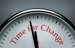 Time for Change. Silver clock with Time for Change text royalty free stock photography