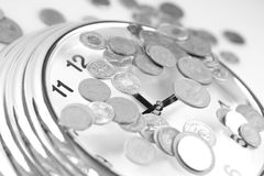 Time for change. Clock money stock photography