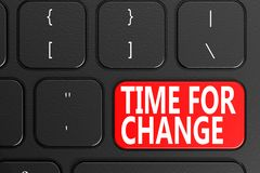 Time for Change on black keyboard. 3D rendering Stock Photos