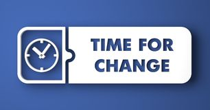 Time for Change on Blue in Flat Design Style. Royalty Free Stock Images