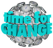 Time for Change Clocks Ball Sphere Innovative Improvement Stock Image