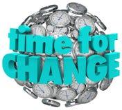 Time for Change Clocks Ball Sphere Innovative Improvement Stock Image