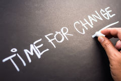 Time for Change. Closeup hand writing on blackboard Royalty Free Stock Photography