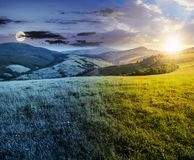 Time changes over grassy meadow in mountains. Time change concept over the grassy meadow in mountains. beautiful summer countryside under the gorgeous sky, sun Stock Photography