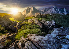 Time change concept. rocky peaks and rocks on hillside in High T royalty free stock photos
