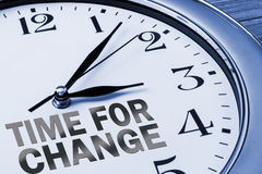 Time for change. Concept on wall clock Royalty Free Stock Photography