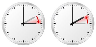 Time change daylight saving time and standard time Stock Image
