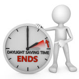 Time change. Man points to the time change to daylight saving time on white background Royalty Free Stock Photography