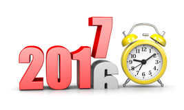 Time of Change. Red 2017 Year Number Text on Top of 2016 with Yellow Alarm Clock on White Background 3D Illustration. Time Passes Concept Stock Photography