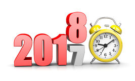 Time of Change. Red 2018 Year Number Text on Top of 2017 with Yellow Alarm Clock on White Background 3D Illustration. Time Passes Concept Royalty Free Stock Photos