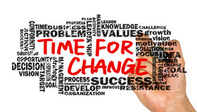 Time for change with related words cloud Stock Image
