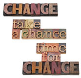 Time for change - take a chance. A collage of isolated words in vintage wood letterpress type, stained by color inks Royalty Free Stock Images