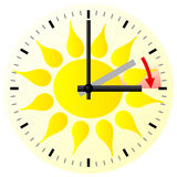 Time change to daylight saving time. Vector illustration of a clock switch to summer time Royalty Free Stock Photo