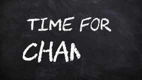 Time for change word handwritten and underlined animation on chalkboard or blackboard footage 4k