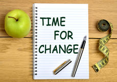 Time for change. Words on notebook Stock Images