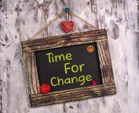 Time for change written on Vintage sign board royalty free stock image