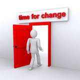 Time for changes, new achievements. Man who comes in the door with name time for changes Royalty Free Stock Image
