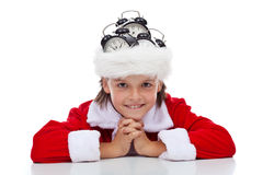 It is time for christmas again. Time for christmas again - happy santa with alarm clocks on his hat, isolated Stock Photography