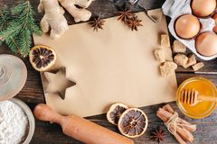 Time for Christmas baking. Culinary background, top view Royalty Free Stock Image