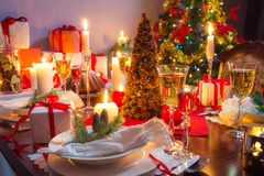 It is time for Christmas Eve. In home Royalty Free Stock Photography