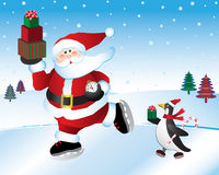 Time for Christmas Santa. Santa Claus getting ready for Christmas Eve with penguin helper on ice skates Stock Images
