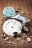 Time Clock Broken Cogs Background stock photography