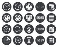 Time, clock, calendar icons Stock Photo
