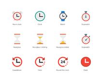 Time and Clock color icons on white background. Stock Image