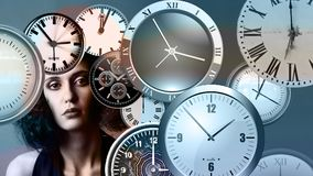 Time, Clock, Head, Woman, Face Royalty Free Stock Photography