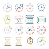 Time and clock icons, flat design, colorful thin line style Stock Photos