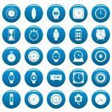 Time and clock vector icons set blue, simple style. Time and clock icons set blue. Simple illustration of 25 time clock vector icons for web Royalty Free Stock Photography