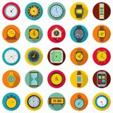 Time and clock icons set, flat style. Time and clock icons set. Flat illustration of 25 time clock vector icons circle isolated on white Royalty Free Stock Photo