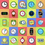 Time and clock icons set, flat style. Time and clock icons set. Flat illustration of 25 time clock vector icons for web Stock Image