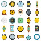 Time and clock icons set, flat style. Time and clock icons set. Flat illustration of 25 time clock vector icons isolated on white background Stock Photos