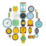 Time and clock icons set, flat style. Time and clock icons set. Flat illustration of 25 time clock vector icons isolated on white background Royalty Free Stock Photography
