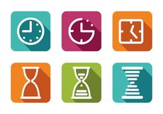 Time and Clock icons Stock Photo