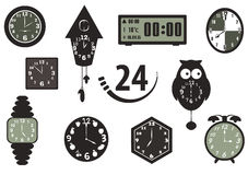 Time and Clock icons Stock Photos